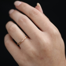 18k Rose Gold Coral Stick Scattered Diamond Ring Image