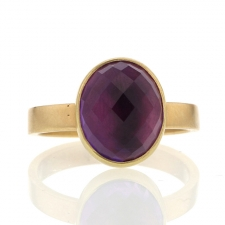 Amethyst Faceted 18k Gold Band Ring Image