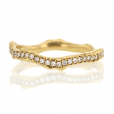 18k Yellow Gold Coral Stick Pave Diamond Ring Image