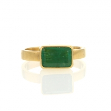 Gold Emerald Rectangle Ring Image