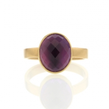 Oval Amethyst Faceted Gold Ring Image