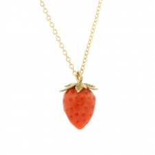 Coral Strawberry 18k Necklace 2 Image