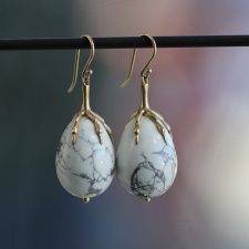White Howlite Claw Earrings Image
