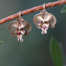 Gold Orchid Earrings with Rubies Image