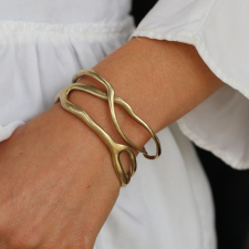 Gold Coral Branch Cuff Bracelet Image