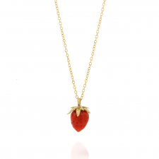 Gold Coral Strawberry Coral Pendant Necklace Image