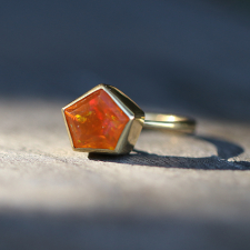 Pentagonal Fire Opal Gold Ring Image