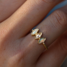 Triple Marquise Opal and Diamond Gold Ring Image