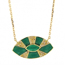 Talisman Sun Sage Enamel Emerald Diamond Necklace Image