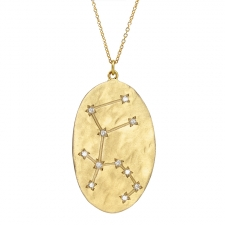 Aquarius 14k Gold Diamond Constellation Astrology Necklace Image