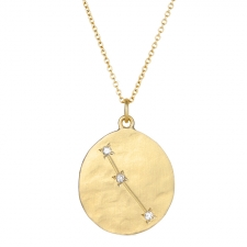 Aries 14k Gold Diamond Constellation Astrology Necklace Image