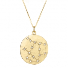 Gemini 14k Gold Diamond Constellation Astrology Necklace Image