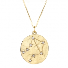 Libra 14k Gold Diamond Constellation Astrology Necklace Image