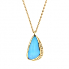 Ellipse Halo Boulder Opal Necklace 10 Image