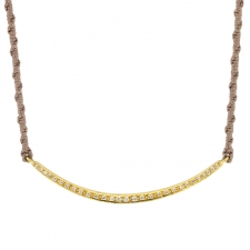 18k Yellow Gold Diamond Bar Necklace on Silk Image