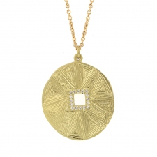 18k Gold Mandala Hera Engraved Diamond Necklace Image