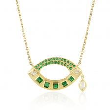 Open Talisman Emerald and Diamond Necklace Image