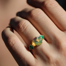 Fire Opal and Emerald Gold Cloud Ring Image