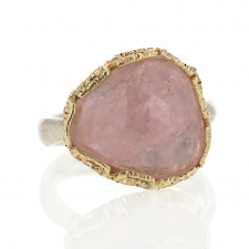 Morganite Silver and 14k Gold Lace Ring Image