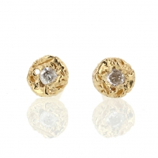 Textured Gold Round Diamond Post Stud Earrings Image