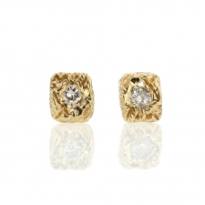 Square Textural Gold Diamond Post Stud Earrings Image