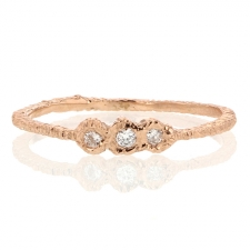 Triple Diamond Rose Gold Etched Band Image