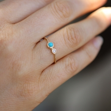 Turquoise and Diamond Etched Gold Ring Image