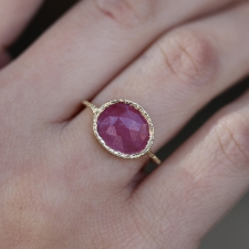 Pink Sapphire All Gold Lace Ring Image