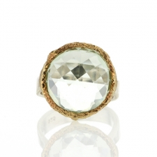 Green Amethyst Round Silver and Gold Ring Image
