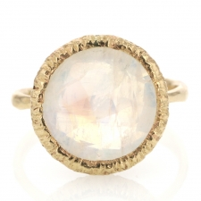 All Gold Round Rainbow Moonstone Gold Laced Frame Ring Image