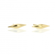 Solid Wave Gold Post Stud Earrings Image