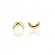 Tiny Crescent Moon 18k Yellow Gold Post Stud Earrings Image