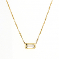 Long Emerald Cut Diamond Gold Necklace Image