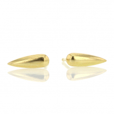 Gold Long Rain Drop Stud Earrings Image