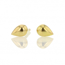 Tiny Rain Drop 18k Gold Stud Earrings Image