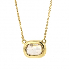 Rose Cut Champagne Diamond Oval Gold Necklace Image