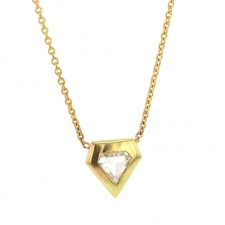 White Diamond Shield Gold Necklace Image