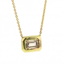 Large Emerald Cut Champagne Diamond 18k Gold Necklace Image