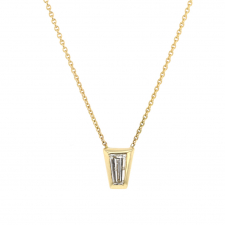 Tapered Diamond Baguette 18k Gold Necklace Image