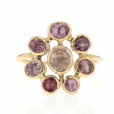 Pink Sapphire Cluster Circle Ring Image