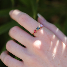 Grey Spinel, Purple Sapphire and Red Spinel Band Ring Image