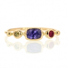 Purple Sapphire with Diamond and Spinel Simple Ring Image