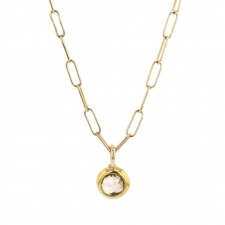 Champagne Diamond Drop Gold Link Chain Necklace Image