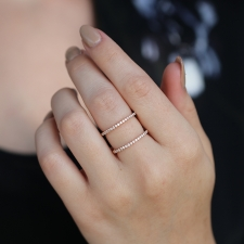 Double Diamond 18k Rose Gold Ring Image