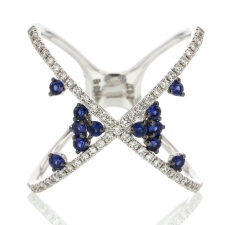 18k White Gold Diamond and Scattered Sapphire X Ring Image
