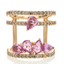 Diamond and Pink Sapphire 18k Rose Gold Ring Image