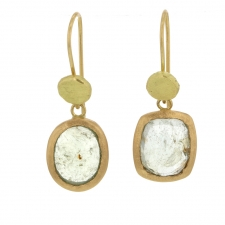 Pale Grey and Green Sapphire Mismatched Hanging Earrings Image