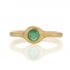 Small Round Emerald 18k Gold Ring Image