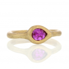Small Ruby Teardrop 18k Gold Ring Image