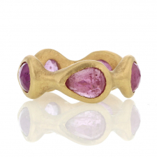 Pink Sapphire Sculpted Eternity Band Image